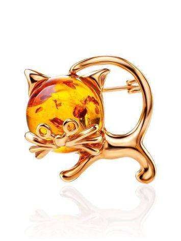 Gold Plated Kitten Brooch With Cognac Amber The Fairyrtale, image