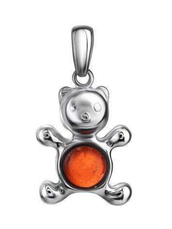 Silver Teddy Bear Pendant With Cherry Amber, image