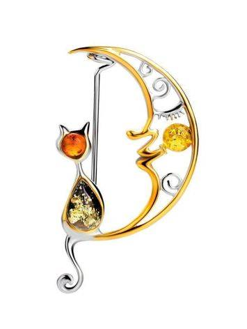 Designer Gold-Plated Brooch With Multicolor Amber The Lullaby, image