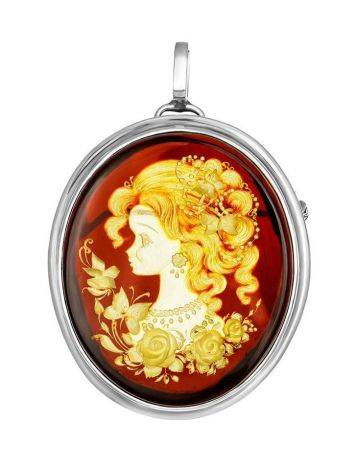 Cherry Amber Brooch With Intaglio The Nymph, image