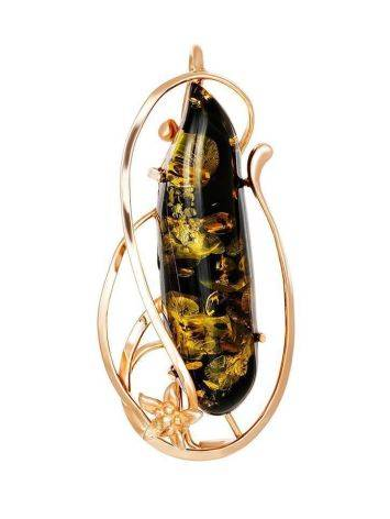 Green Amber Brooch In Gold Plated Silver The Rialto, image