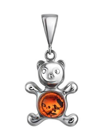 Silver Teddy Bear Pendant With Cognac Amber, image