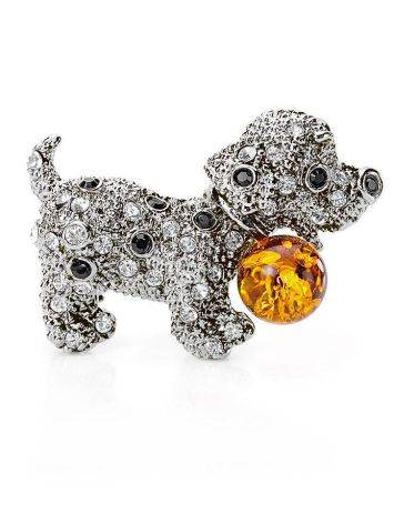 Cognac Amber And Crystals Puppy Brooch The Puppy, image