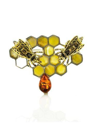 Designer Amber Brooch In Sterling Silver The Bee, image