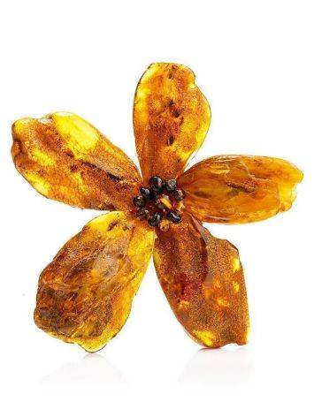 Amber Floral Brooch The Volcano, image