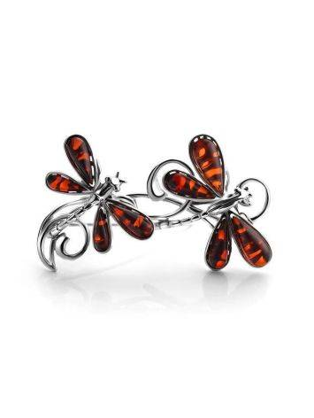 Silver Amber Dragonfly Brooch, image