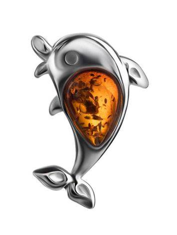 Silver Dolphin Pendant With Cognac Amber, image