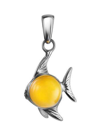 Silver Fish Pendant With Honey Amber, image