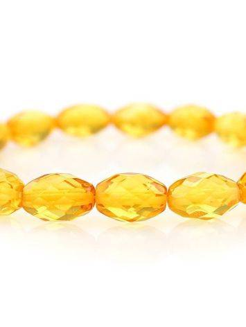 Faceted Lemon Amber Beaded Bracelet, image , picture 2