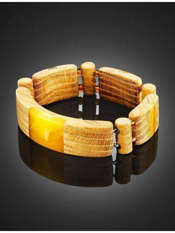Wooden Flat Beaded Bracelet With Honey Amber The Indonesia, image , picture 3
