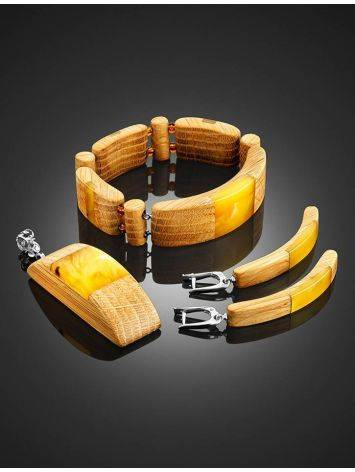 Wooden Flat Beaded Bracelet With Honey Amber The Indonesia, image , picture 6