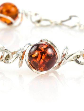 Baltic Amber Link Bracelet In Sterling Silver The Flamenco, image , picture 3