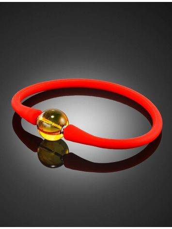 Red Silicone Bracelet With Natural Lemon Amber The Hawaii, image , picture 2