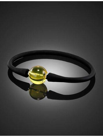 Black Silicone Bracelet Decorated With Natural Amber The Hawaii, image , picture 2