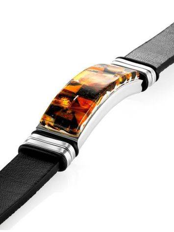 Leather Mens Wristband With Amber Mosaic The Grunge, image , picture 4