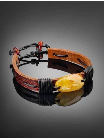 Honey Amber Leather Tie Bracelet The Copacabana, image , picture 2