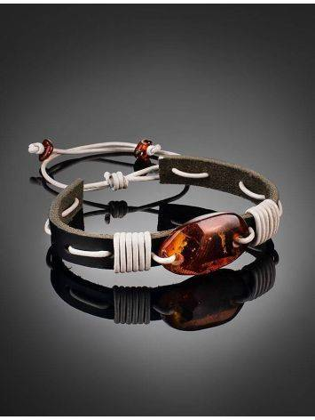 Cognac Amber Leather Tie Bracelet The Copacabana, image , picture 2
