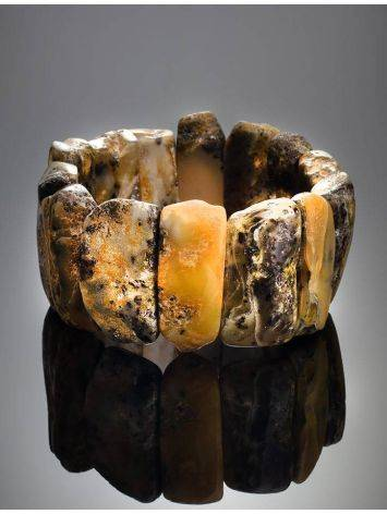 Dark Hued Amber Stretch Bracelet The Volcano, image , picture 2