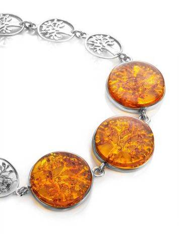Amazing Symbolic Gift The Tree Of Life Bracelet Made in Amber And Sterling Silver, image , picture 3