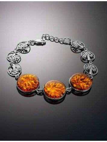 Amazing Symbolic Gift The Tree Of Life Bracelet Made in Amber And Sterling Silver, image , picture 2