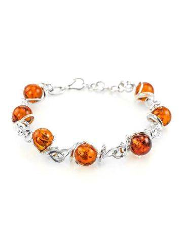 Baltic Amber Link Bracelet In Sterling Silver The Flamenco, image