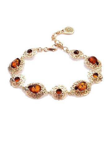 Gold-Plated Link Bracelet With Cognac Amber The Luxor, image