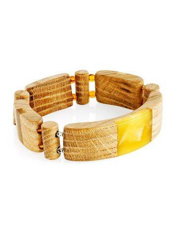 Wooden Flat Beaded Bracelet With Honey Amber The Indonesia, image