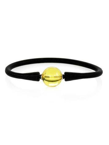 Black Silicone Bracelet Decorated With Natural Amber The Hawaii, image