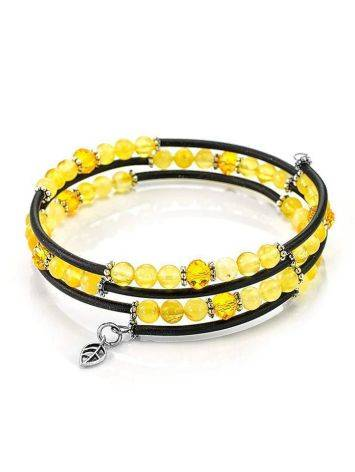 Stylish Bangle Bracelet With Amber And Glass Beads, image , picture 4