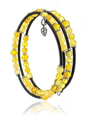 Stylish Bangle Bracelet With Amber And Glass Beads, image , picture 2