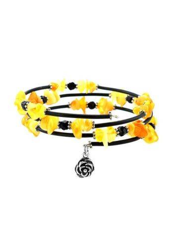 Bold Bangle Bracelet With Amber Beads And Flower Charm, image