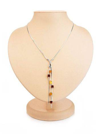 Silver Necklace With Multicolor Amber Dangles The Sugar, image