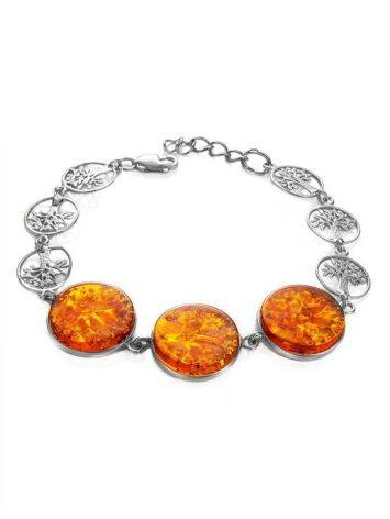 Amazing Symbolic Gift The Tree Of Life Bracelet Made in Amber And Sterling Silver, image