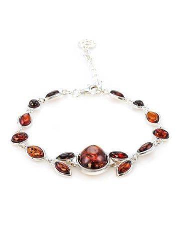Cognac Amber Link Bracelet In Silver The Verbena, image