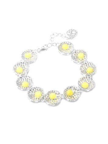 Silver Link Bracelet With Honey Amber The Venus, image