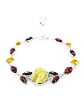 Multicolor Amber Link Bracelet In Silver The Verbena, image