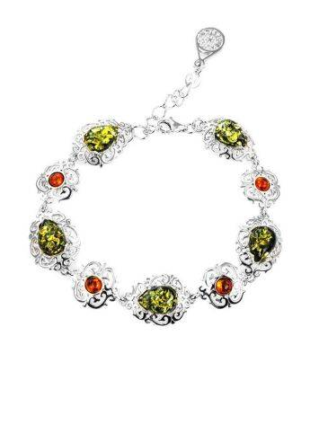 Sterling Silver Link Bracelet With Multicolor Amber The Luxor, image