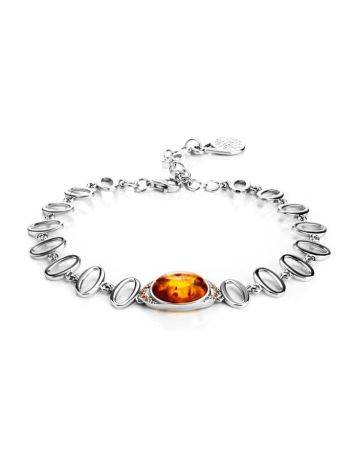 Sterling Silver Bracelet With Amber And Crystals The Raphael, image