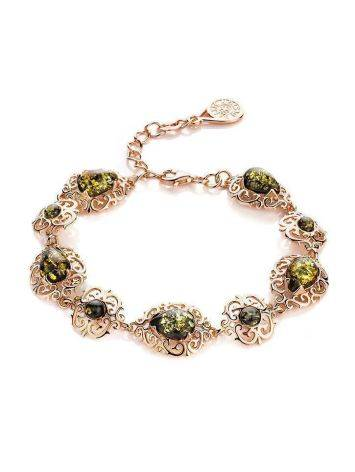 Gold-Plated Link Bracelet With Green Amber The Luxor, image