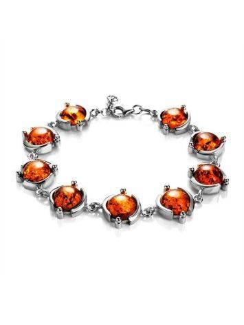 Cognac Amber Link Bracelet In Silver, image