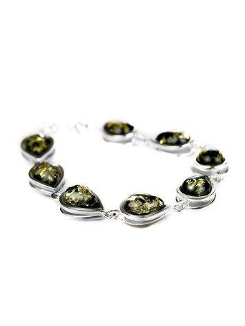 Silver Link Bracelet With Green Amber Stones The Fiori, image