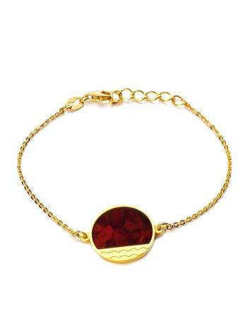 Gold-Plated Chain Bracelet With Cherry Amber The Monaco, image