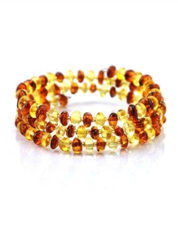 Natural Amber And Glass Beads Bangle Bracelet, image