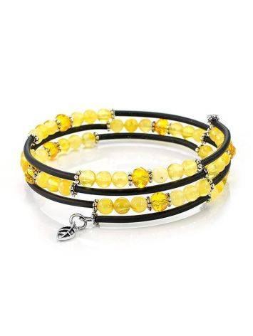 Stylish Bangle Bracelet With Amber And Glass Beads, image