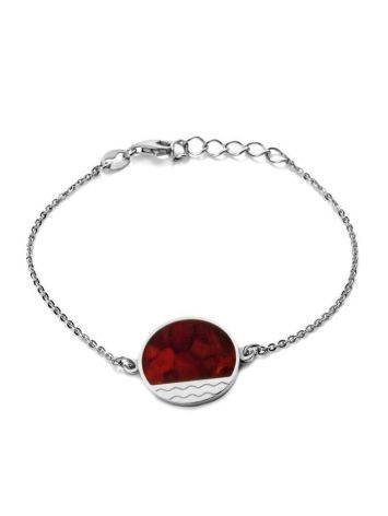Sterling Silver Bracelet With Cherry Amber Stone The Monaco, image