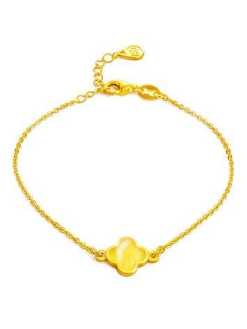 Gold-Plated Chain Bracelet With Honey Amber The Monaco, image