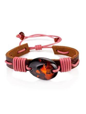 Cognac Amber Leather Tie Bracelet The Copacabana, image