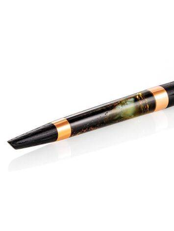Stylish Wooden Ball Pen With Textured Green Amber, image , picture 5