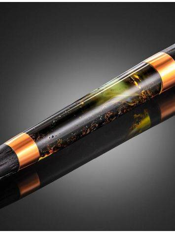 Stylish Wooden Ball Pen With Textured Green Amber, image , picture 6