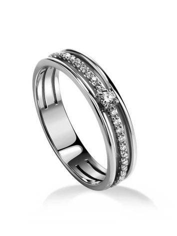 White Gold Ring With Diamond Pavé, Ring Size: 6 / 16.5, image